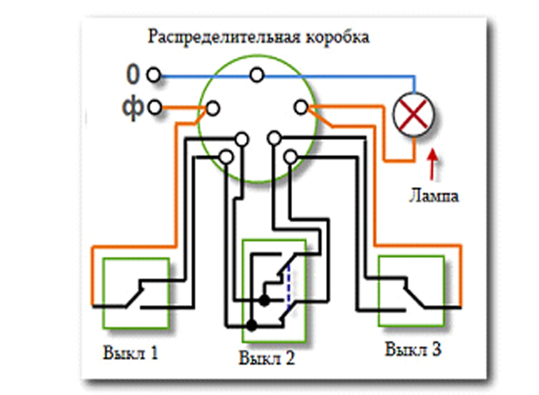 Электрическая схема проходного выключателя фото 623