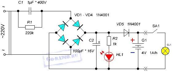 Схема фонаря 12 вольт